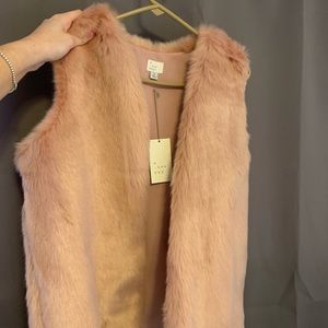 New with tags pink fur vest!